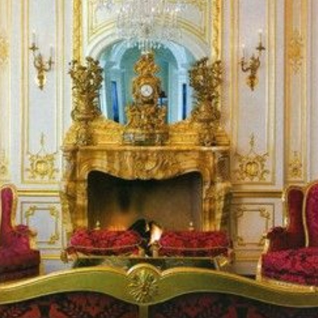 No filter needed. Stunning gilded fireplace in dream castle located in Texas