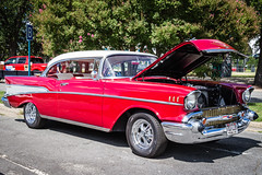chevrolet(0.0), hot rod(0.0), automobile(1.0), automotive exterior(1.0), 1957 chevrolet(1.0), vehicle(1.0), custom car(1.0), antique car(1.0), sedan(1.0), vintage car(1.0), land vehicle(1.0), luxury vehicle(1.0), coupã©(1.0), motor vehicle(1.0),