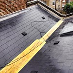 New synthetic slate roof with GRP box gutter in progress, Fulham