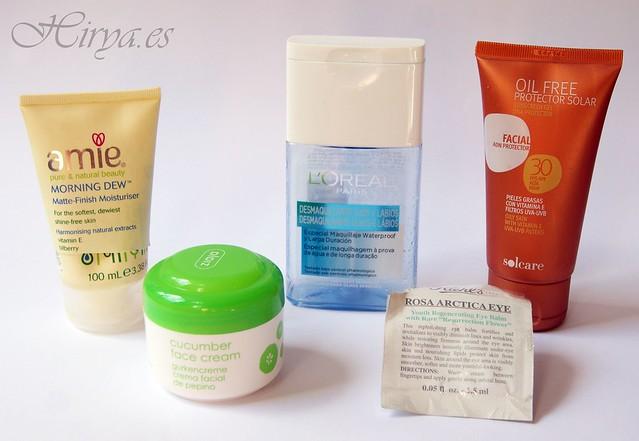 acabados: hidratante amie morning dew / cucumber face cream ziaja / desmaquillante loreal / oil free protector solar deliplus class=