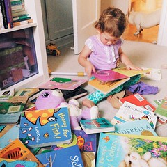 """Maya just yanked all the books off her shelf while shouting, """"I can't find anything in here!!"""", then sat down and said, """"look at this mess I made.""""  Guess she found what she was looking for though."""