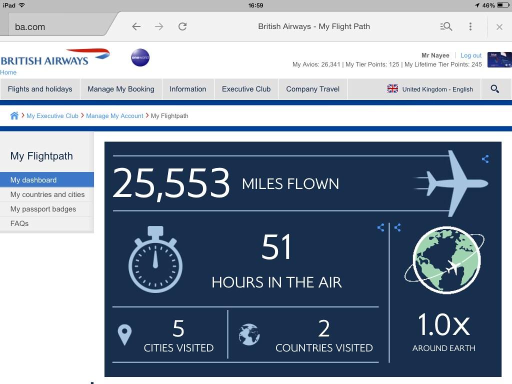 Miles Flown on British Airways  - Magazine cover