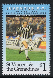 juventus the first team to win all europe cups stamp 9 - st. vincent & the grenadines