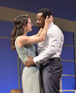 Meredith Forlenza and Malcolm-Jamal Warner in the Huntington Theatre Company production of Todd Kreidler's compelling family comedy GUESS WHO'S COMING TO DINNER directed by David Esbjornson, playing Sept. 5 – Oct. 5, 2014 at the Avenue of the Arts / BU Theatre. Photo: Paul Marotta