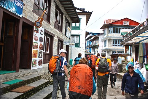 Trying to get ahead of the crowd as we walk through Lukla