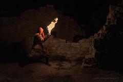 Des flammes au château des Baux en Provence