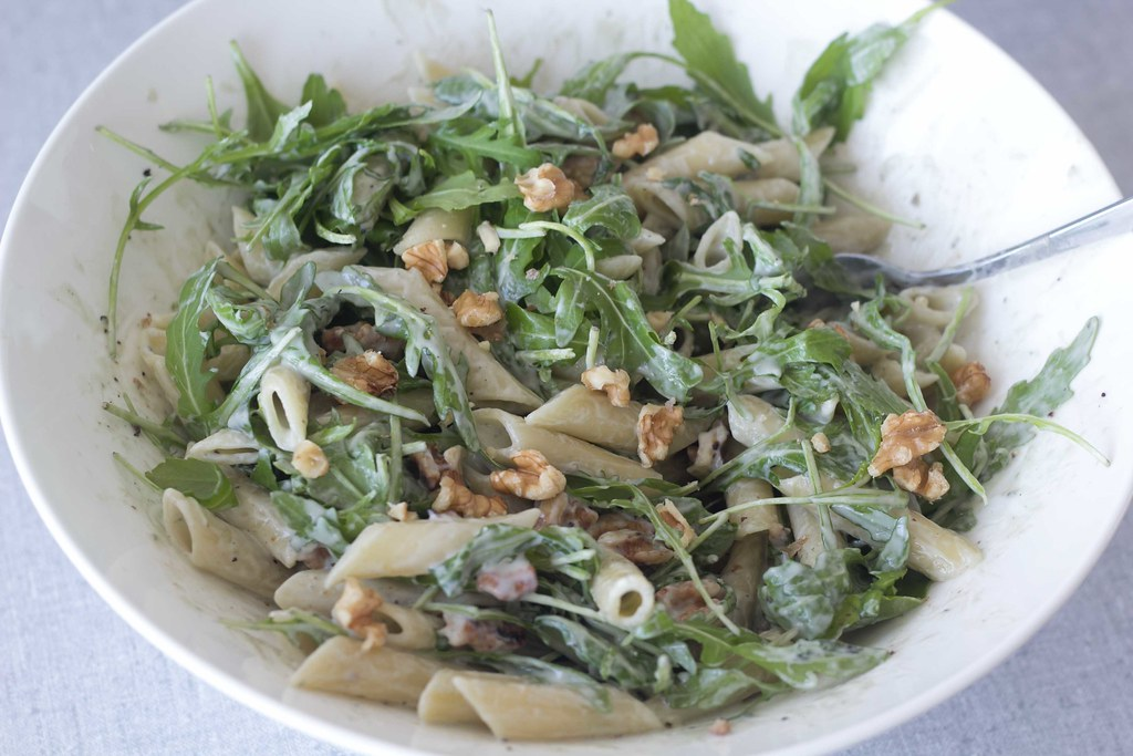 Pasta med gorgonzolasauce, ruccola og valnødder (9)