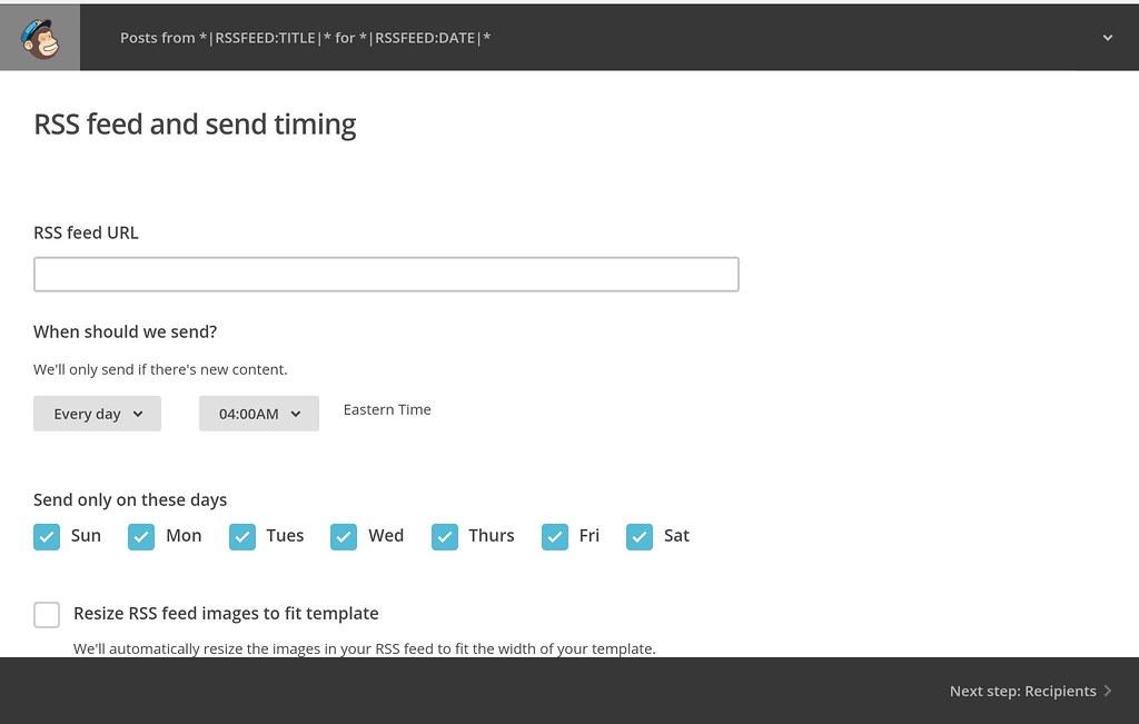 Mailchimp set rss url frequency