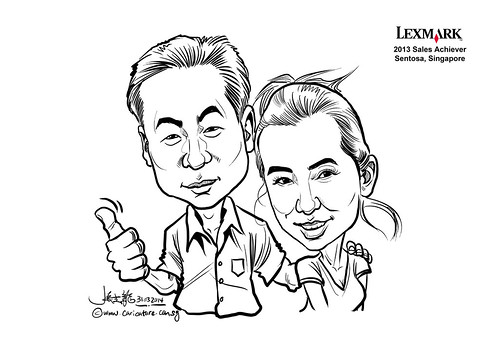 digital couple caricatures for Lexmark - Tyron Xu