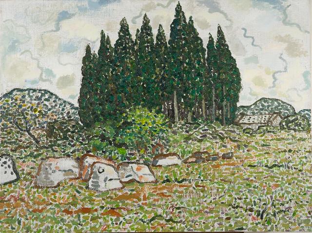 毛旭辉-圭山写生·柏树林之一-60×80cm-布面油画-2012
