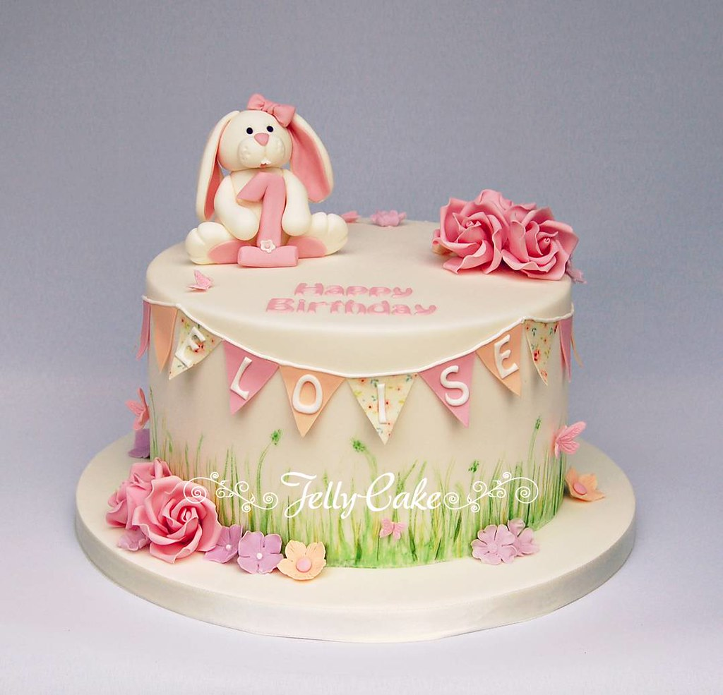 Bunny And Bunting Birthday Cake