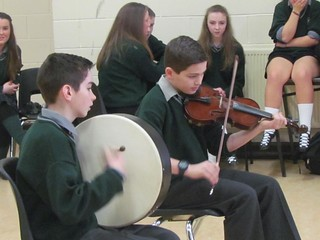 Students play for our French visitors