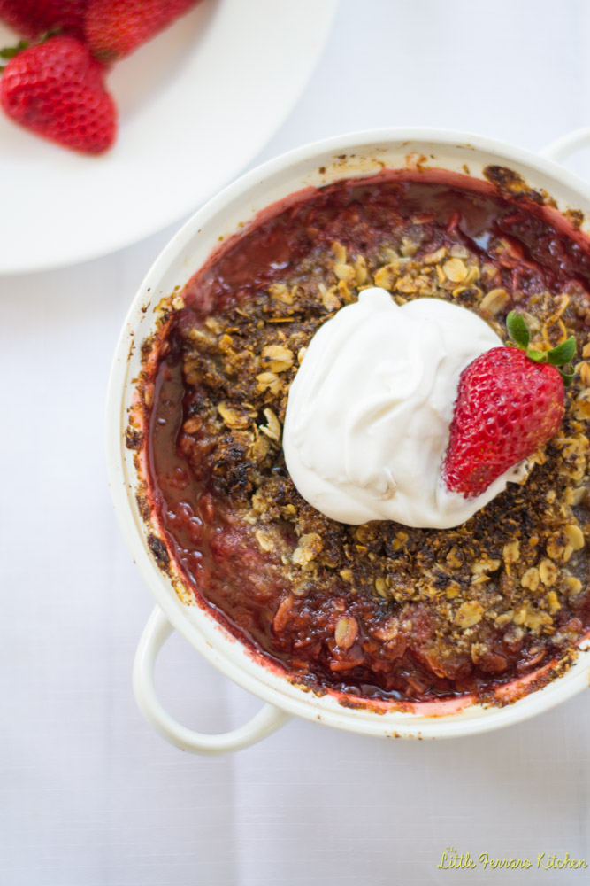 Strawberry Hazelnut Crumble with Coconut Whipped Cream via LIttleFerraroKitchen.com