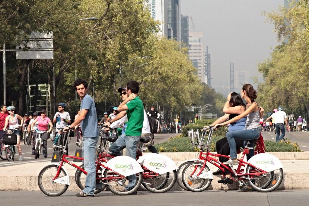Ciclistas en el centro de México D.F