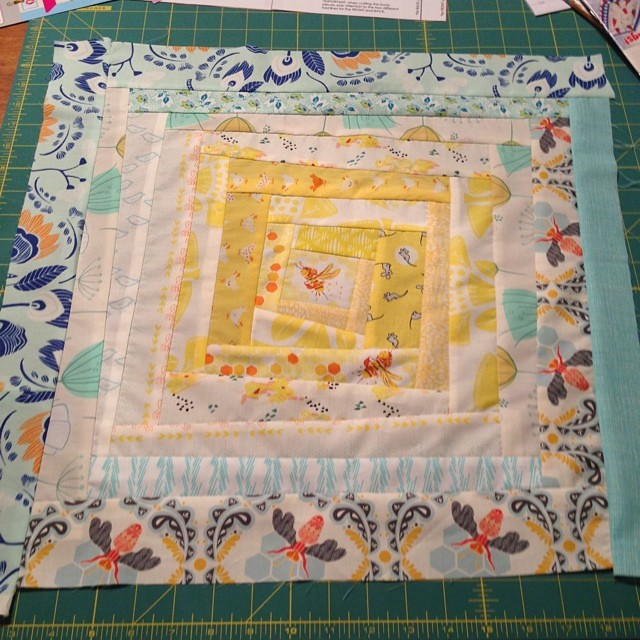 I didn't transition to the blue fast enough and now it's almost max size. I can either fix this (unstitching some layers) or keep and start over... Hmm. I do love it, but not what I wanted  #schnitzelandboominiquiltswap #makeaquiltmakeafriend