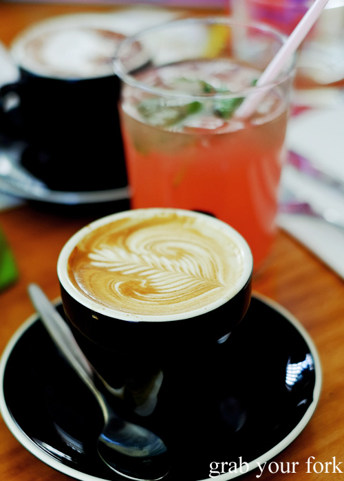 Flat white coffee and watermelon and basil house made soda at Brighton the Corner, Petersham
