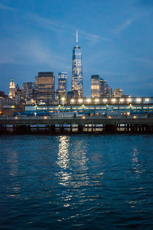 New York City Freedom Tower at Night by Chelsea Piers