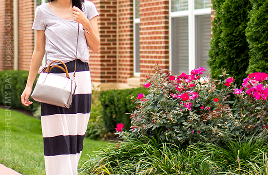 gray tee, rugby striped maxi dress, colorblock crossbody bag