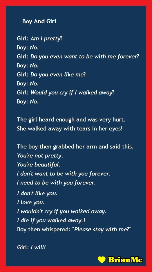 Boy And Girl love conversation, BrianMc, Love Quote