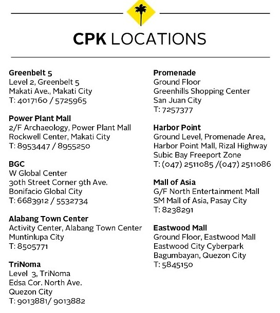 California Pizza Kitchen Philippine Branches