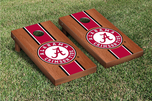 Alabama Crimson Tide Cornhole Game Set Rosewood Stained