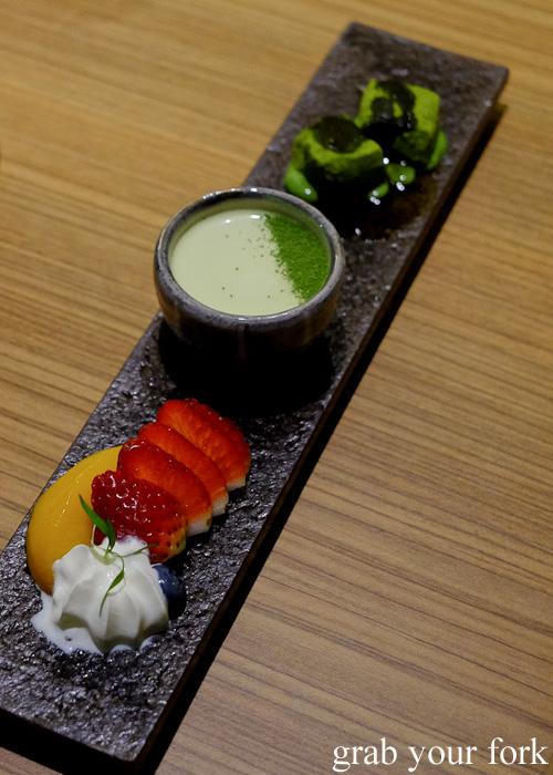 Kanmi santen mori green tea creme caramel and warabi mochi dessert at Yayoi, Sydney