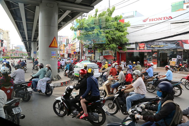 Saigon street scene - easily dominated by motorbikes