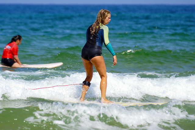 Dutch or German surfgirl with a Roxy wetsuit