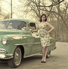 1952 Chevy Style Line Sedan Pin up photo shoot