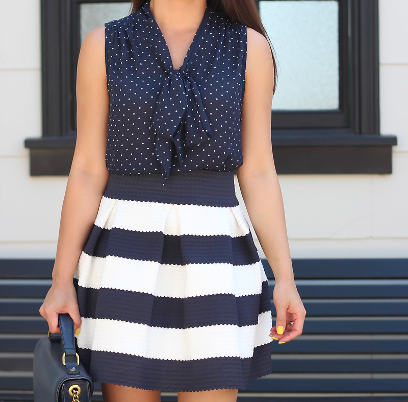 Navy Stripes, polka dots and red-4
