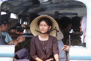 Dinh Tuong 1972 - Young woman in small bus - Photo by Gene Whitmer