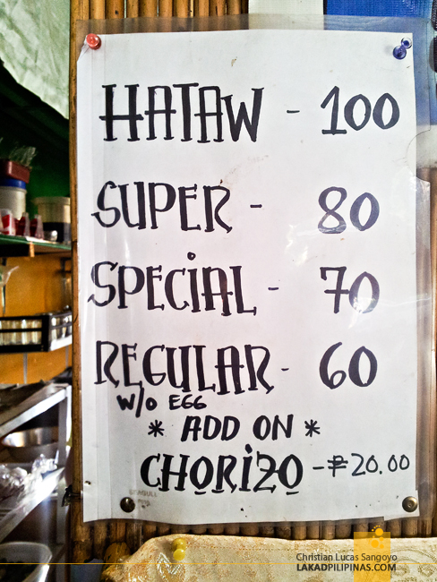 Menu at Bruno's Pancit Batil Patong in Kamuning
