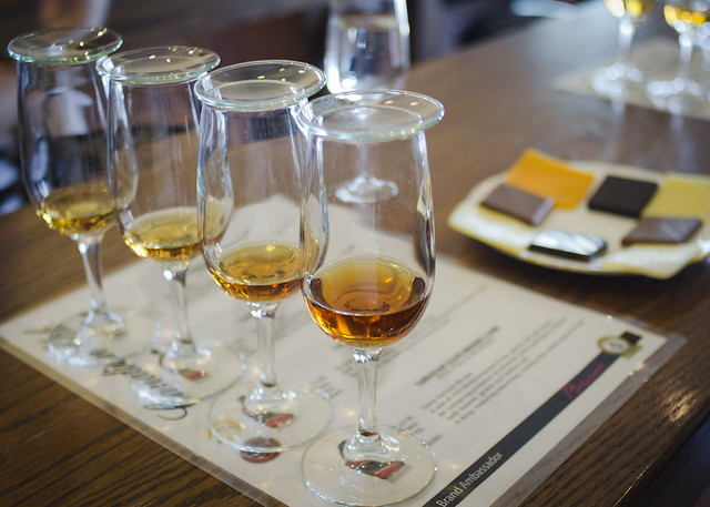 Whisky tasting while visiting the Canadian Club Heritage Brand Centre