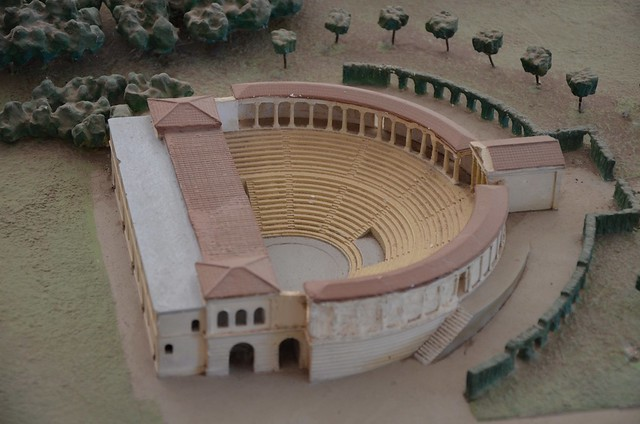 Model of Hadrian's Villa showing the Greek theatre