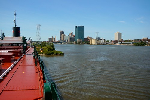 The Maumee River (shown here) flows into the Maumee Bay of Lake Erie at the city of Toledo, OH. USDA photo.