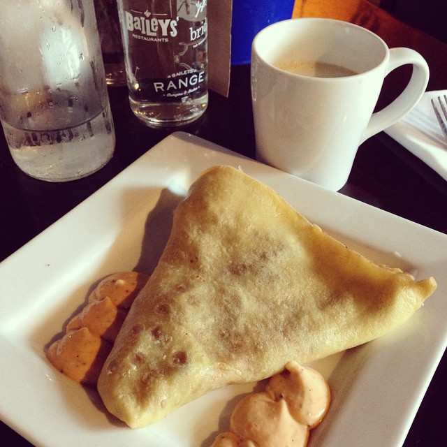 On a date day with the hubby while the kids are in school, so may be sharing lots of photos! First up is our favorite crepe breakfast place. I got a cheddar, caramelized onion and bacon crepe. And, I rarely drink coffee, but got myself a mocha with a sh