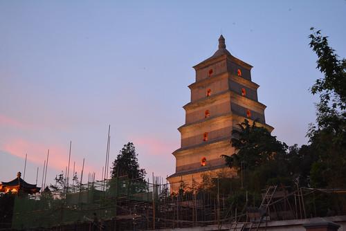 sunset wild giant pagoda big dusk goose clear xian 中国 西安 大雁塔
