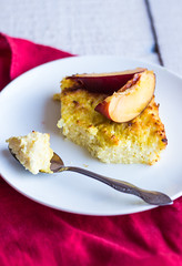 sweet cottage cheese casserole with pasta and peac…