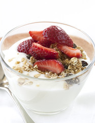 produce(0.0), cereal(0.0), breakfast cereal(1.0), meal(1.0), breakfast(1.0), strawberry(1.0), parfait(1.0), fruit(1.0), food(1.0), dish(1.0), dairy product(1.0), dessert(1.0), muesli(1.0), frozen yogurt(1.0),