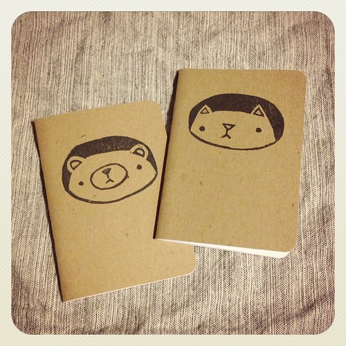 Just printed up two more notebook designs! #pudgybear #kitteh #migrationgoods #blockprinting