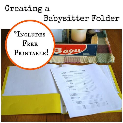DIY Babysitter Folder