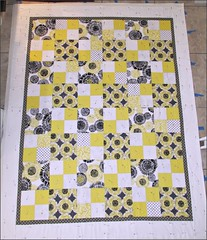 Citron, gray, and white quilt