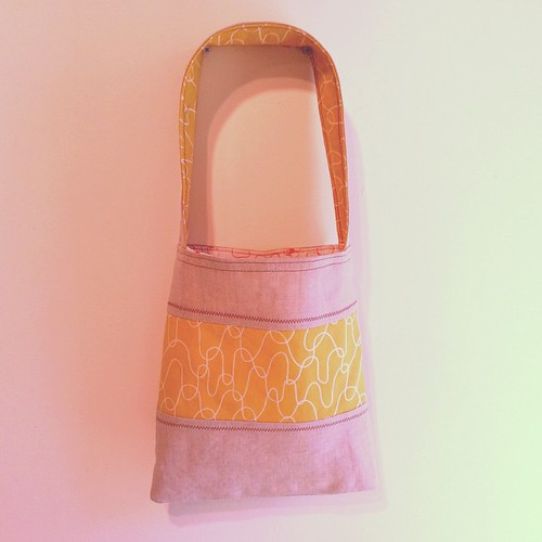 Linen and cotton project bag with Lotta Jansdotter fabrics #sewing
