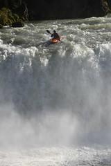 Kayaking over Goðafoss waterfalls, Bárðardalur, North-Central Iceland