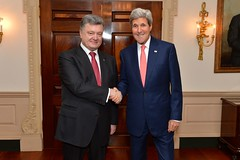 U.S. Secretary of State John Kerry meets with Ukrainian President Petro Poroshenko at the U.S. Department of State in Washington, D.C., on September 18, 2014. [State Department photo/ Public Domain]