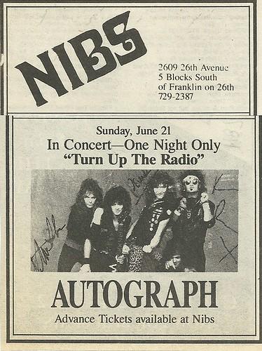 06/21/87 Autograph @ Nibs, Minneapolis, MN