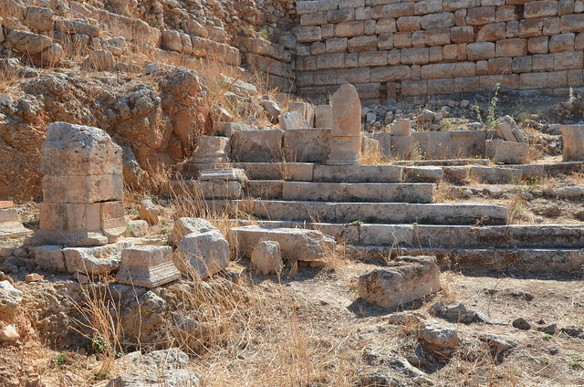 The remains of an Heroon with inscribed pedestals located between the ancient road and the west fortification wall, Aptera, Crete