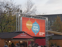 Southbank Centre's Winter Festival - Christmas market - wooden huts
