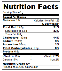 Cheeseball Nutrition Label