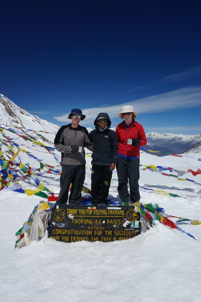 Andrew, Annemarie & Harry on the Thorong La Pass